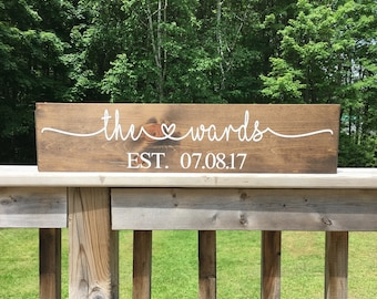 Bridal Shower Gift - Custom Name Sign - Wedding Gift - Last Name Sign - Wood Sign - Anniversary Sign - Gift for Couple - Gift for Bride