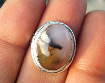 Natural Dendrite opal ring* Sterling Silver Ring* Dendritic opal Ring*handmade Ring* agate ring* gift* statement ring*dendrite jewelry*PR214