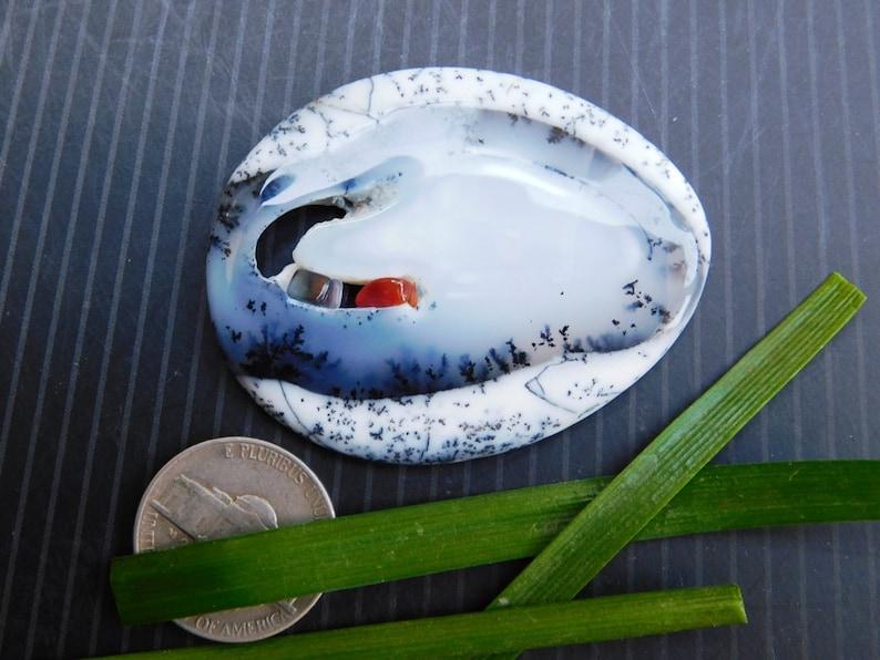 Very Beautiful Druzy Dendrite Agate Cabochon 50X40X6 Natural Druzy Dendrite Agate Gemstone 96Cts. #-2542 mm