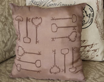 Silk Decorative Pillow Cover, Old Fashioned Keys, Light Brown and Taupe, Hand painted