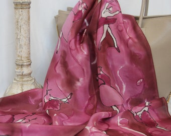 Ballerina Scarf in Cranberry with Black and White, Hand painted