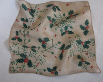 Silk Snowflakes and Holly 'n Berries, Red, Green and Beige, Pocket Square, Handkerchief, Hand Painted