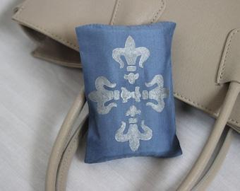 Silk Soft Facial Travel Tissue Case Holder, Fleur De Lis in Silver on Slate Blue, Hand painted