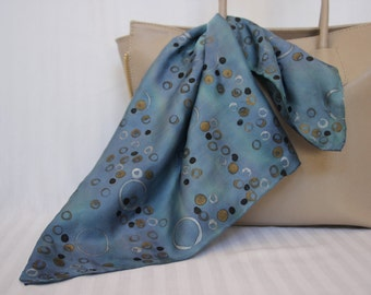 Silk Modern Circles and Dots Square Scarf, Purse Scarf, in Blue, Green, Purple and Metallics, Hand painted