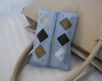 Silk Soft Facial Travel Tissue Case Holder, Diamonds in Black, Silver and Gold on Blue, Hand painted