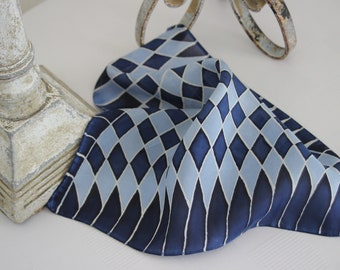 Silk Checkerboard Shield Pocket Square, Blue and White with Pinstripes, Handkerchief, Hand Painted