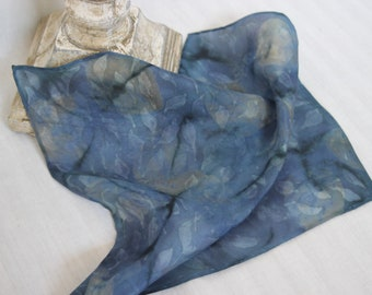 Silk Autumn Fall Leaves Pocket Square, Blue, Beige and Black, Handkerchief, Hand Painted