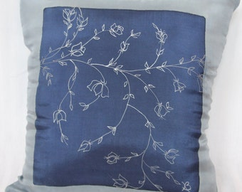 Silk Decorative Pillow Cover, Floral Botanical, Blue with Silver Metallic, Hand painted