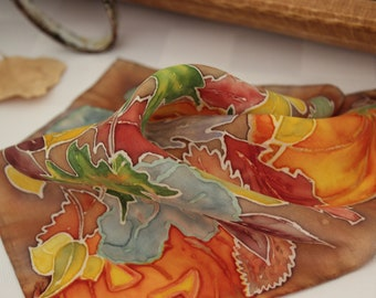 Silk Fall Pumpkins and Autumn Leaves Pocket Square, Multi Color, Handkerchief, Hand Painted