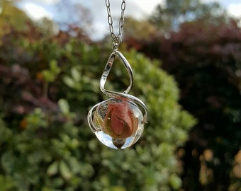 Elegant dried pink rose, silver spiral resin orb pendant. OOAK real flower necklace