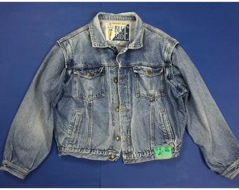 Perry/'s jacket jeans M usato vintage biker giacca uomo giubbotto usato blu T1593