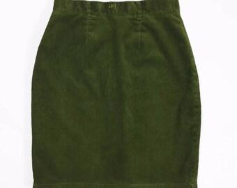 e34eb8dd3d82b Laura Biagiotti skirt jeans vintage green corduroy Tg46 W32 High Green used  T1080