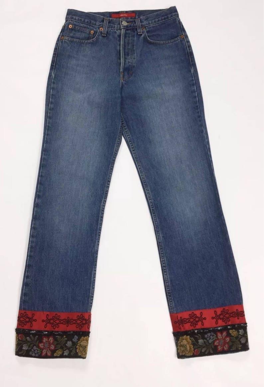 l'ultimo e05db 2bbff MBNY jeans W28 Tg28 mom hot vita alta usati strass donna vintage denum T2178
