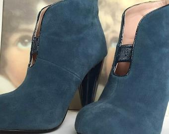 Fiorucci Ankle Boots Women's Blue Ocean 36 heel Spullo used T437