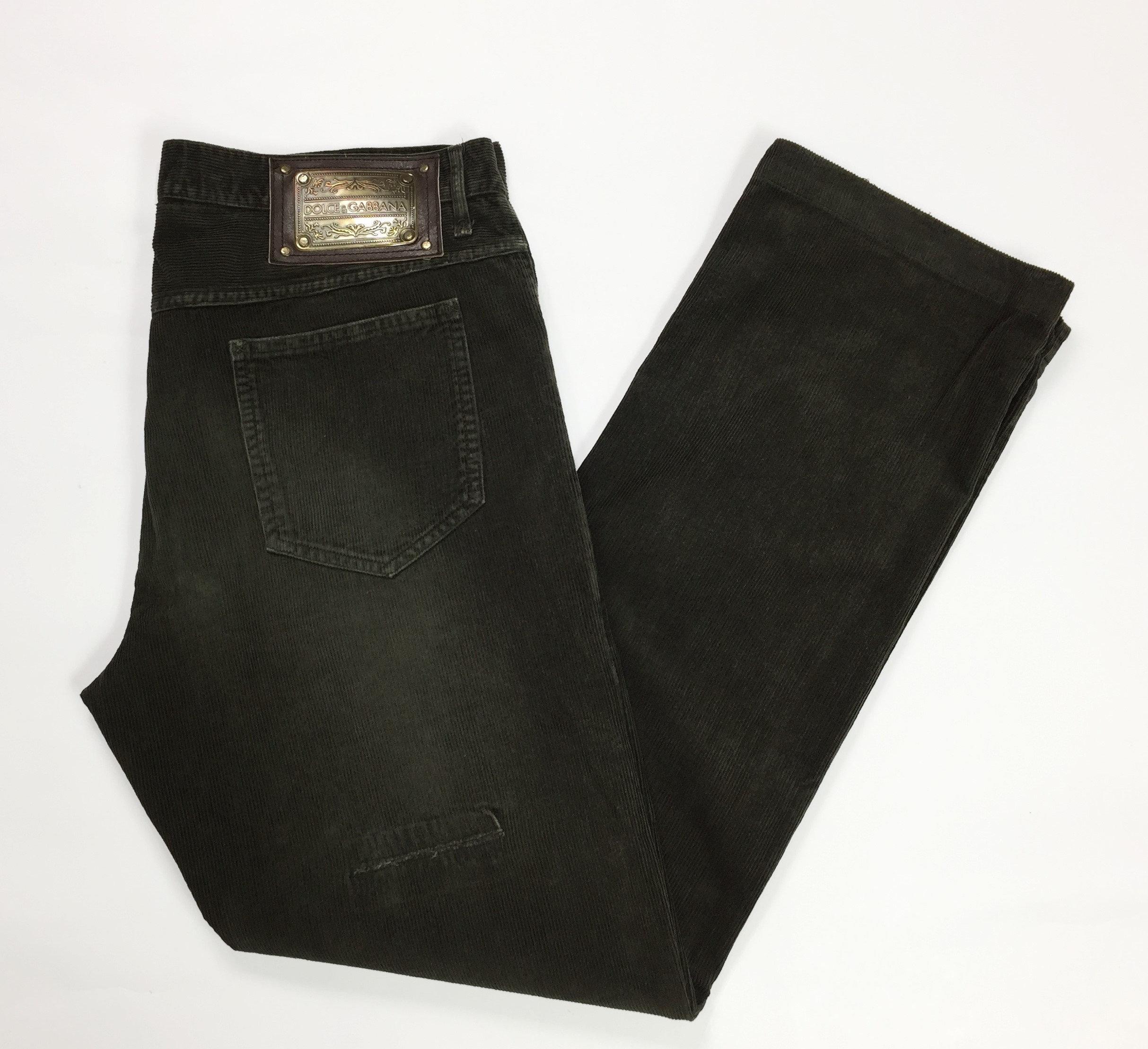 Dolce Gabbana d g w38 tg 52 pantalone velluto strappi marrone  3c5abcd43e5