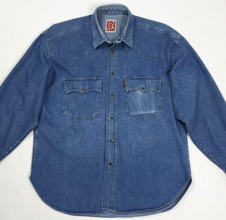low priced 1b681 7982c Casucci camicia jeans uomo usato azzurro L vintage denim manica lunga top  T4641