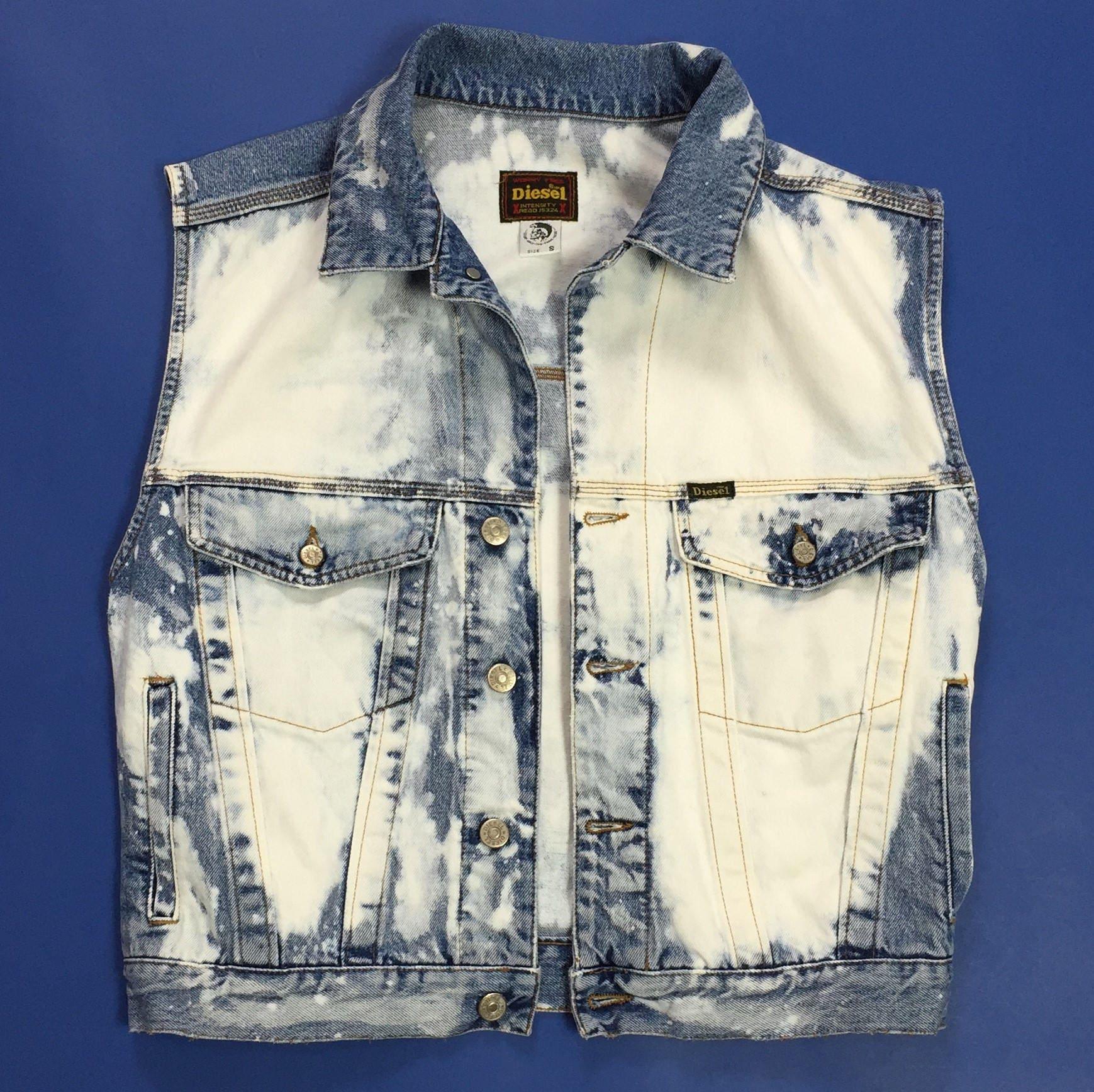 0080642d7b Diesel jeans smanicato S blu giubbino jacket denim usato hot   Etsy