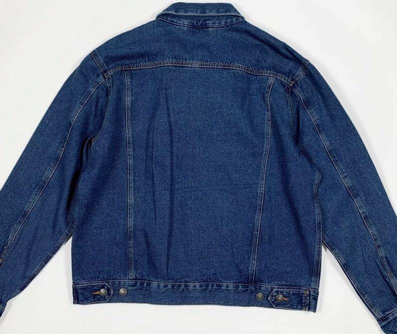 Mens classic jacket jeans uomo usato XL denim giacca giubbino vintage blu T6286