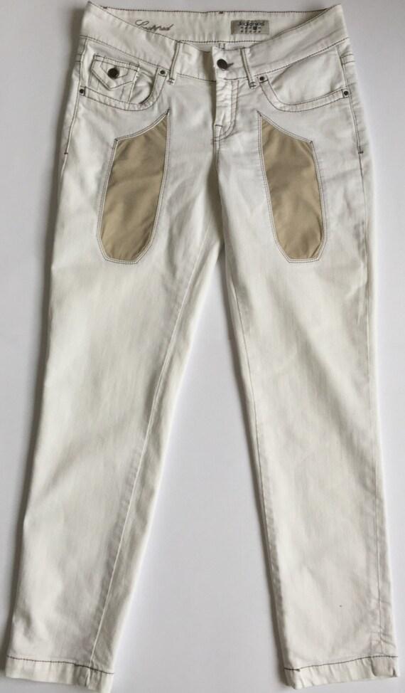 Jeckerson w28 jk1406 jeans donna bianco panta toppe cropped  4891cd0e429