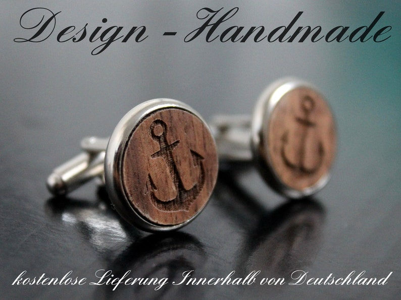 Cuff buttons Men/'s Jewelry walnut anchor just for him groom gift for papa mens gift wedding gift for him