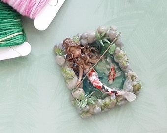 Koi Pond Mermaid - Polymer Clay Mermaid - Mermaid Decor - Koi Fish Decor - Miniature Koi Pond - Unique Needle Minder - Mermaid Magnet