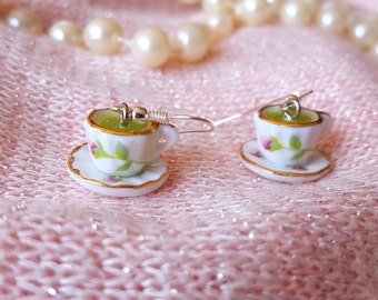 Rosebud Jewelry Teacup - Green Tea Earrings - Miniature Teacup and Saucer