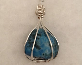 Wire wrapped blue stone pendant