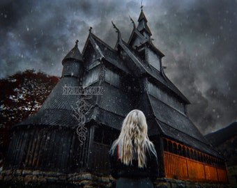 Evening Fire - Art Print Photo Poster Viking Stave Church Norse