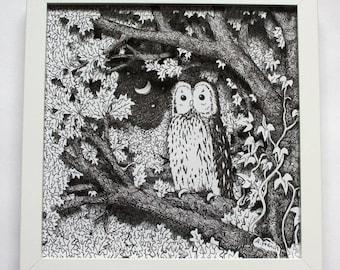 Owl at Dusk Box Frame