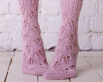 Knitted sock Pink wool sock Hand knit socks Lace socks Pink women knit socks Casual socks Handmade socks Autumn knit socks Colorful socks