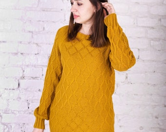 Mustard sweater oversized sweater merino wool womens pullover long sleeves pumpkin sweater comfy knit sweater dress orange natural sweater