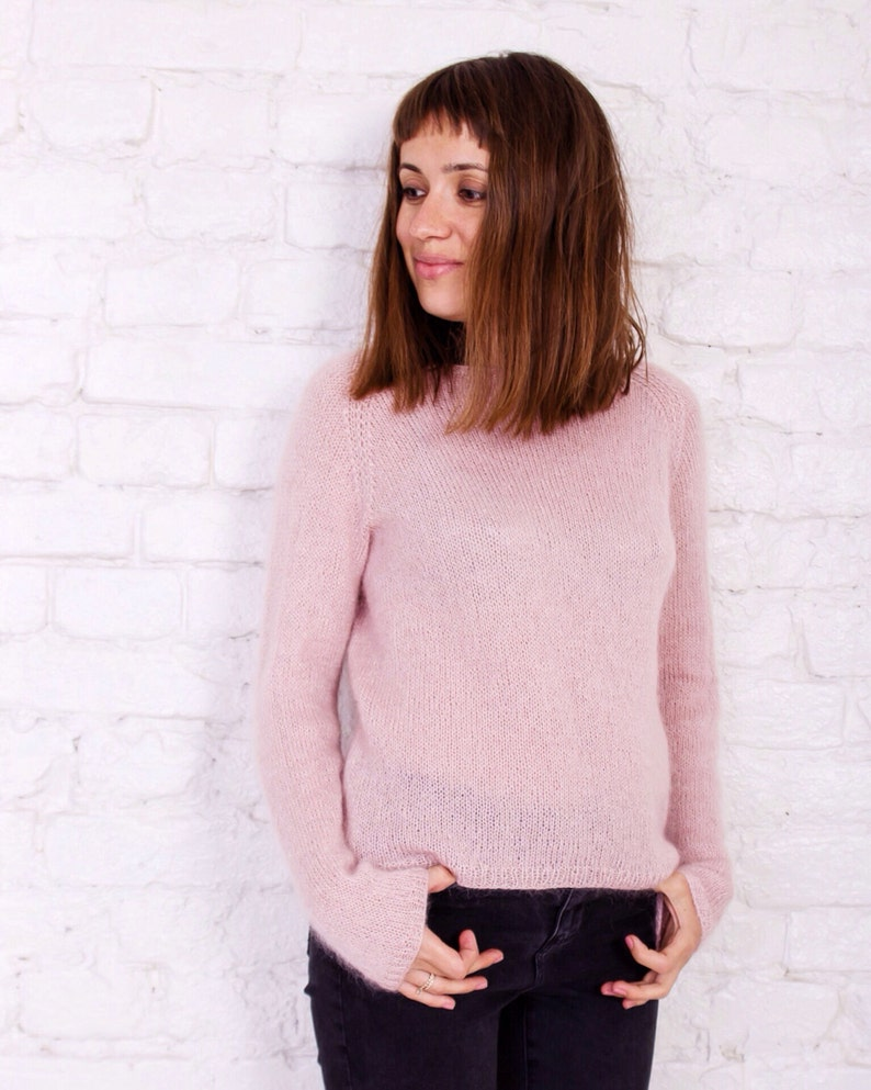d8a806f2dbc5 Mohair sweater Pink women sweater Hand knit sweater in pink