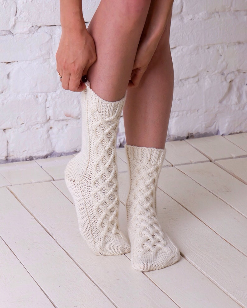 9ba55168ae59c White wool socks Knit socks Winter socks Cable knitted socks | Etsy