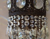 SHABBY CHIC Antique Wall Light Solid, Restored Sconce ,Vintage Crystal Chandelier, Bronze Lamp Old Art Nouveau Lighting Fixture Fitting