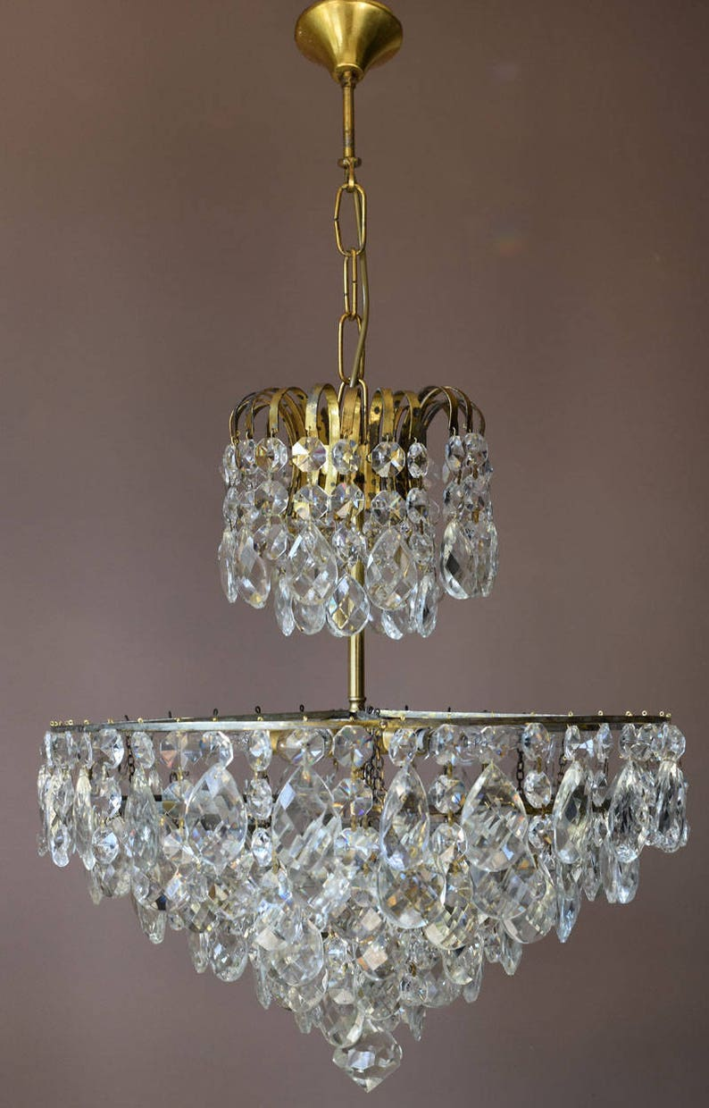 Hollywood regency chandelier empire large antique french vintage crystal chandelier brass lamp lighting ceiling home light fittings fixture
