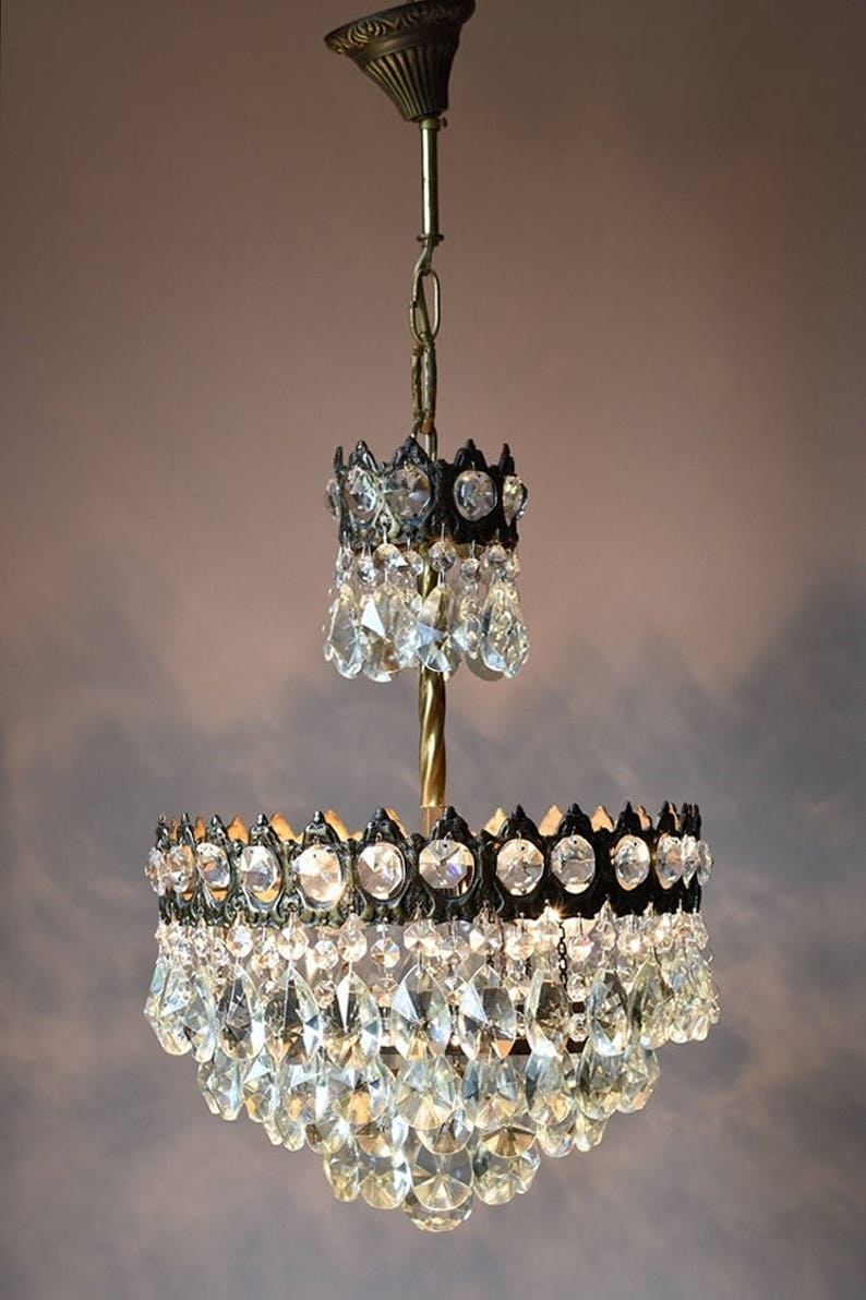 Mini Vintage Crystal Chandeliers, Antique French Crystal Lamp and Ceiling Lighting, Vintage Crystal Light Fittings, Free Shipping, Etsy Sale