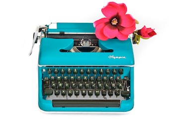 Olympia typewriter office decoration blue restored typewriter working typewriter Olympia SM2 vintage living room decoration birthday gift