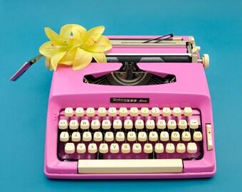 Travel typewriter pink PRINCESS portable typewriter vintage 1960s pink decor writers gift SALE girlfriend gift