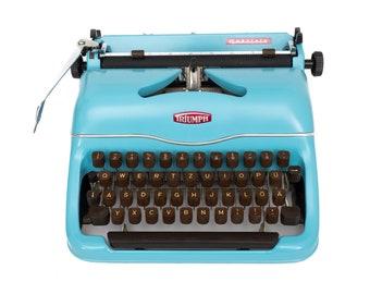 Light Blue typewriter Triumph Gabriele working typewriter blue vintage