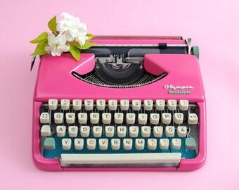 Portable typewriter pink OLYMPIA SPLENDID working typewriter gift for girl pink wedding decoration