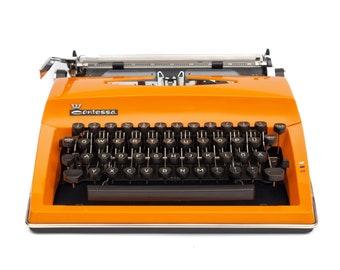 Orange Typewriter Triumph with Case Portable Typewriter