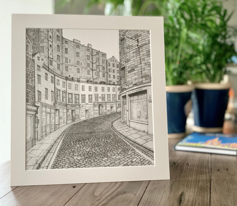 PRINT Victoria Street Edinburgh City Scotland Drawing image 0