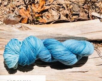 Carolina hand dyed sport weight yarn on superwash merino wool indie dyed sock yarn. Ready to ship. Free shipping.