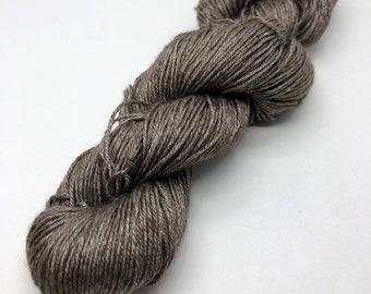 Natural undyed yarn. 50% yak and silk fingering weight yarn. Free Shipping! 218 yards 50 grams. 4-ply. Gray. Ready to ship.