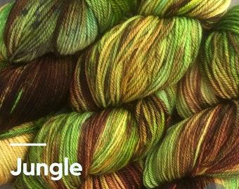 JUNGLE: Hand-dyed yarn. Knitting Yarn. Crochet Yarn. Indie Dyed Yarn. Free Shipping. Hand dyed yarn. Sock Yarn. Sport Weight Yarn. DK Weight