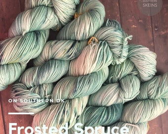 Frosted Spruce: DK weight hand dyed yarn. 75/25 blend Superwash Merino and Nylon. 100g. 245yds. Free Shipping. Ready to ship.