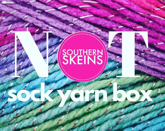 Featured listing image: 2021 May   NOT Sock Yarn Club   Hand Dyed   Yarn Subscription Box   Yarn Box   Mystery Yarn   Yarn of the Month Club   Monthly Yarn  