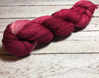 Lust. Free Shipping. Hand dyed Southern DK weight yarn on superwash merino wool & nylon. Ready to ship.
