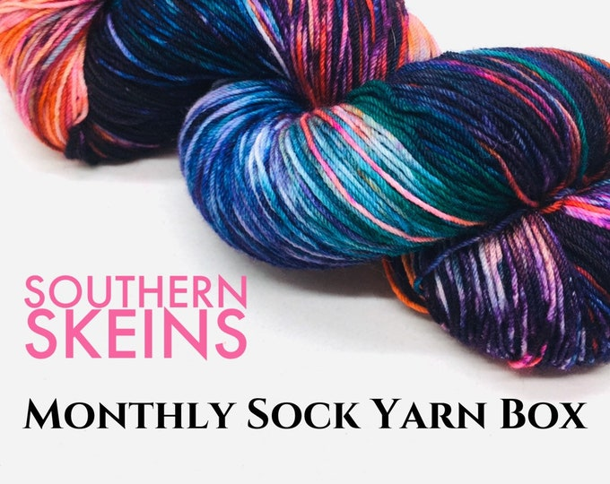 Featured listing image: December 2020. Indie hand dyed sock yarn subscription box. Indulge in decadent, colorful, and squishy indie hand dyed sock yarn.