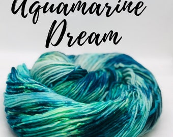 Aquamarine Dream. Free Shipping! hand dyed superwash 100% merino wool yarn.  Single ply. Indy dyed.  Ready to ship.